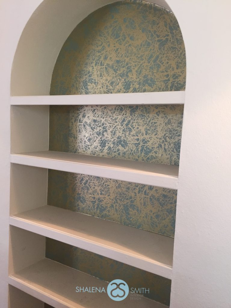 Add extra color and texture to your room by lining a bookcase.